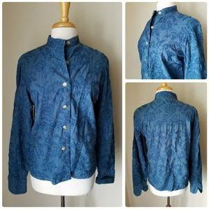 Coldwater Creek Blue Floral Textured Blouse
